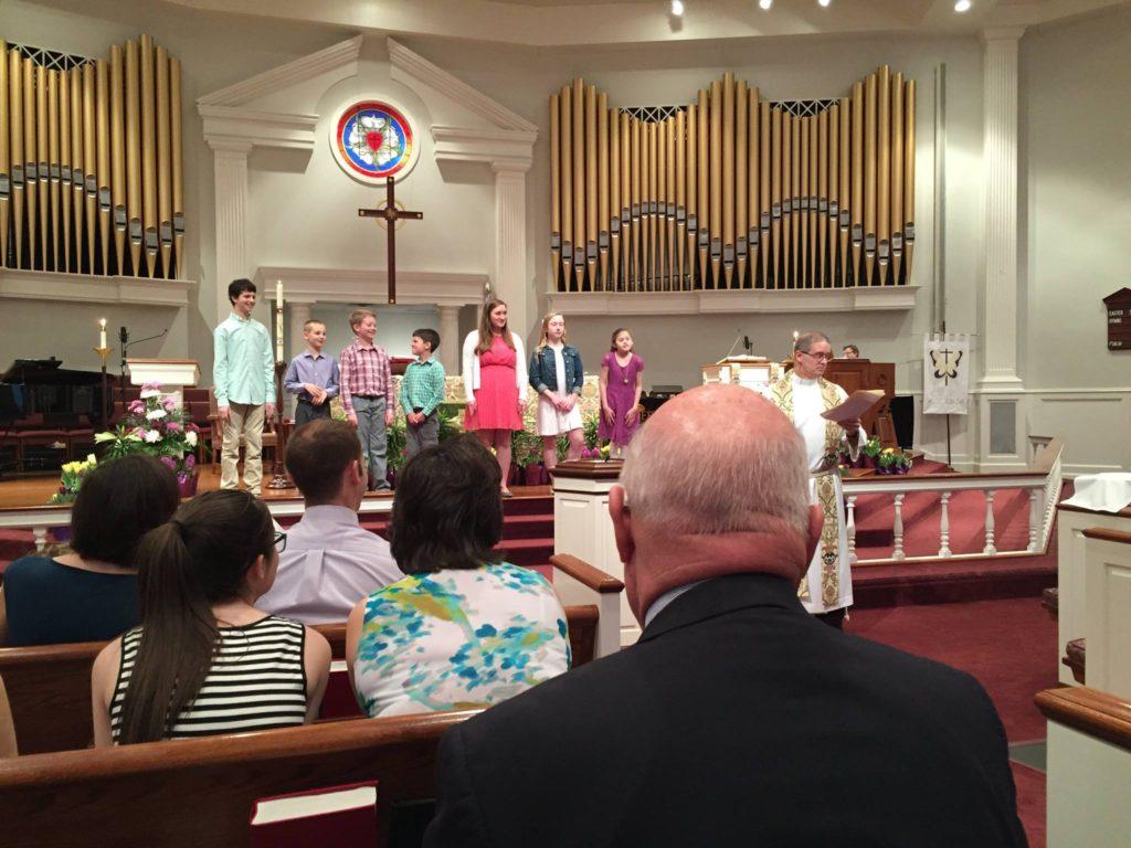 Children participating in worship