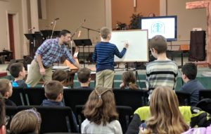 Kirchenwald Director Zach Weiss led a Sunday School program to show kids the joy of camp!
