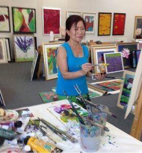 Artist Suk Shuglie in her studio