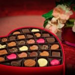 box of chocolates with flowers